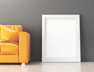 Quadro bianco tela appoggiata a pavimento