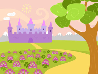 Vector illustration for children of a landscape with clover field, tree, and mountains and a fairy castle on the background. Pastel colors, horizontal format. Six separate layers in eps file.