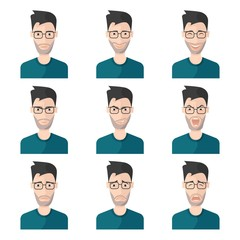 Facial Expression Man Icon Set