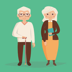 Old couple. Vector illustration