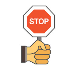 Hand with Stop Sign Icon