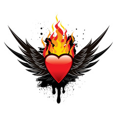 Flaming Heart Wings