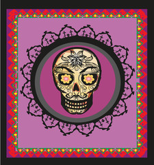 card with mexican skull