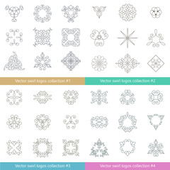 Floral logos collection. Big set of vector swirl elements for design. Thin line.