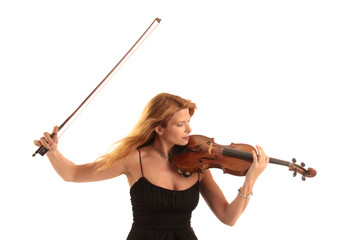 woman playing classical music with violin