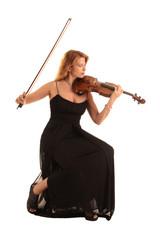 female violinist in black dress