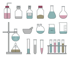 Chemical glassware icons set on a white background. Flat styled vector illustration.