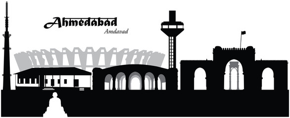 Vector illustration of the skyline cityscape of Ahmedabad, India