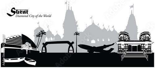 Vector Illustration Of The Skyline Cityscape Of Surat India
