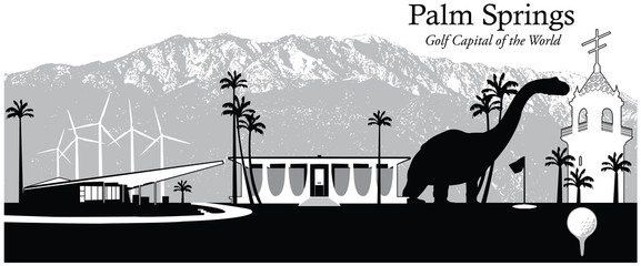 Vector illustration of the skyline cityscape of Palm Springs, California