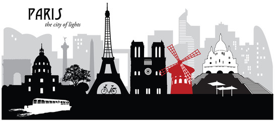 Vector illustration of the skyline cityscape of Paris, France
