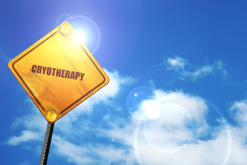 cryotherapy, 3D rendering, glowing yellow traffic sign