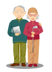 Active elderly couple holding tablet computer and golf club