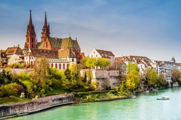 Basel, Rheinufer und Münster, Schweiz Fototapete