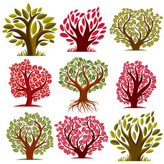 Art vector seasonal trees collection, can be used as design symb