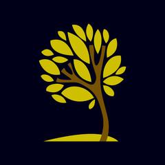 Artistic  fantasy illustration of tree, stylized ecology symbol.