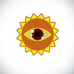 Yellow sun art illustration made with a human eye inside. Vector