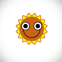 Yellow sun art illustration made with a smiling face. Vector met