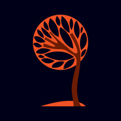 Artistic stylized natural design symbol, creative autumn tree il