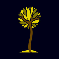 Artistic stylized natural symbol, creative tree illustration. Ca
