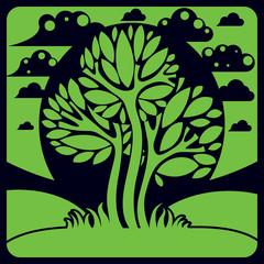 Artistic stylized natural landscape, imaginative tree illustrati