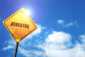 asbestos, 3D rendering, glowing yellow traffic sign