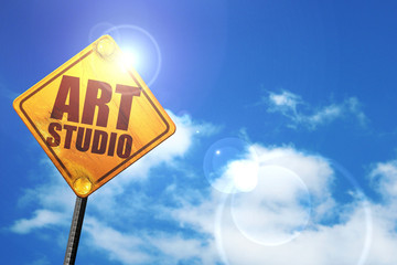 art studio, 3D rendering, glowing yellow traffic sign