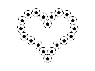 Soccer balls are laid out in the shape of the heart