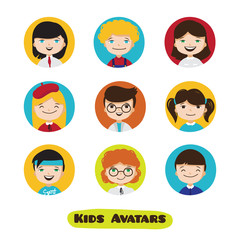 Vector cute cartoon kids avatars set. Children faces collection.