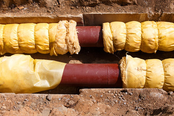 pipe insulation. steel pipe with heat insulation in the ground