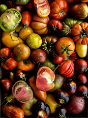 Pile of sliced heirloom tomatoes