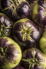 Close up of washed purple tomatoes