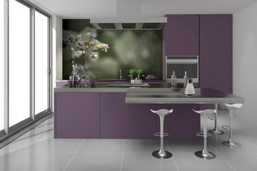 modern Küche Einbauküche violett mauve flieder extravagant Koc