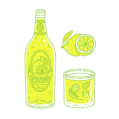 Doodle cartoon lemon lemonade glass and bottle set. Hand drawn cocktales vector illustration. Label design template.