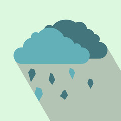 Clouds and hail icon, flat style