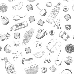 Hand drawn vector food and kitchen stuff seamless pattern, outlined elements are ready to be recolored.