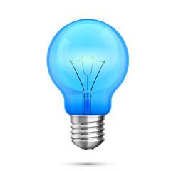 Lamp idea icon, object blue light, Vector illustration