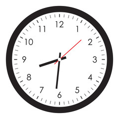 Simple clock image isolated on white background, vector illustration.