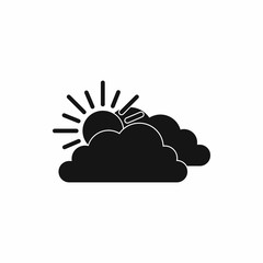 Sun and cloud icon, simple style
