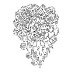 Black and white floral doodle pattern in vector. Henna paisley m