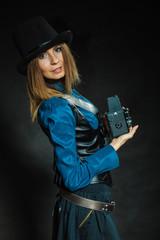 Steampunk with old retro camera.