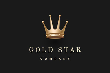 Emblem with gold king crown and inscription Gold Star Company. Emblem template for branding design. Business concept and identity symbol on a dark black background. Vector Illustration