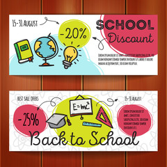 Vector set of discount coupons for stationary accessories. Colorful doodle style voucher templates. Back to school promo offer cards.