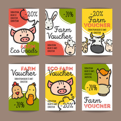 Vector set of discount coupons for eco food goods. Colorful doodle style voucher templates. Farm products store promo offer cards.