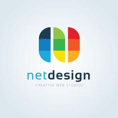Net Design logo. N letter logo. N logo. Vector logo template.