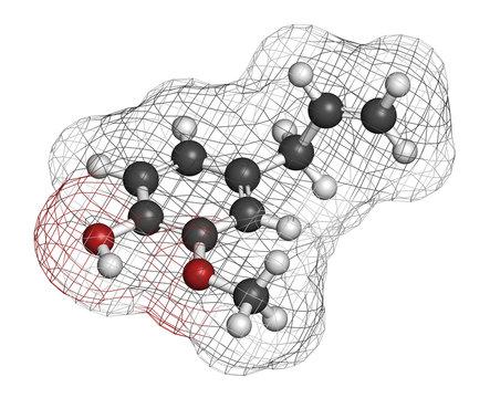 Eugenol herbal essential oil molecule. Present in cloves, nutmeg, etc
