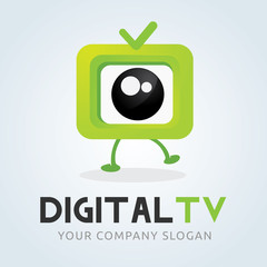 Digital TV logo. Television logo. Channel logo. cute cartoon logo.vector logo template.