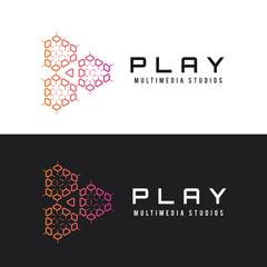 Creative logo,Play logo. Media logo. Sound logo design,multimedia logo,Game play logo.play icon.infinity logo. vector logo template.