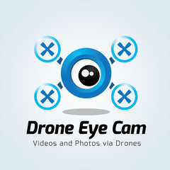 Drone Logo. Eye logo design template. vector logo template.