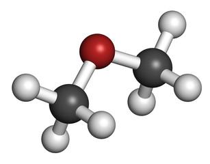 Dimethyl ether (methoxymethane, DME) molecule. 3D rendering.